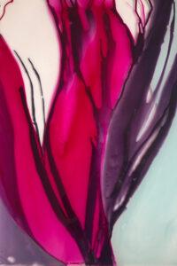 Blüte pink, Acryl auf Glas